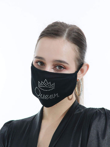 Black Rhinestone Letter Face Mask