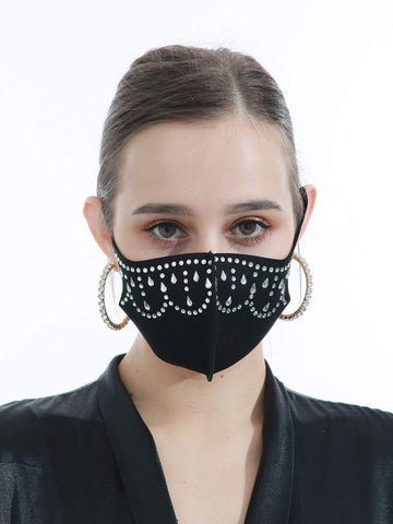 Black Rhinestone Decor Face Mask