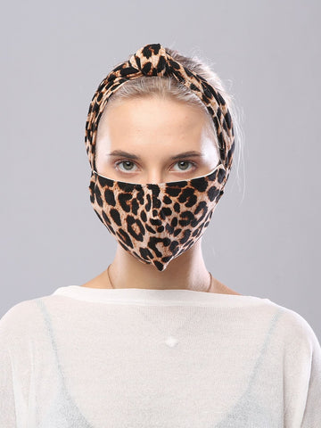 Brown 3pcs Leopard Print Face Mask Headband Scrunchie