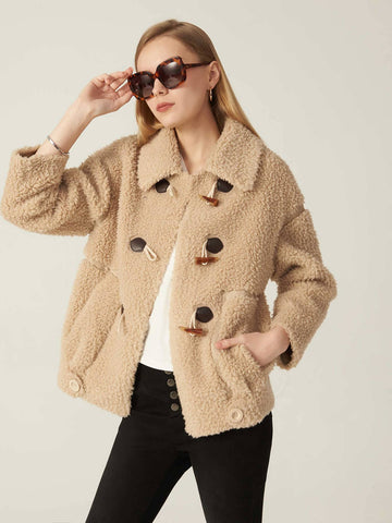 Drop Shoulder Double Breasted Wool Mix Teddy Duffle Coat