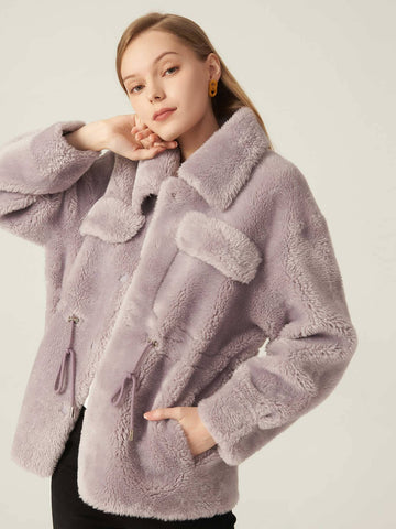 Purple Fluffy Drawstring Waist Drop Shoulder Single Breasted Coat