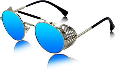 Blue Side Shield Steampunk Mirrored Unisex Round Sunglass