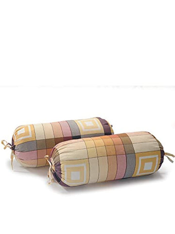 Geometric Pattern Cotton Bolster Cover (Set of 2)