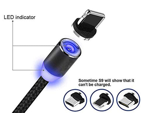 Magnetic USB Multi 3-in-1 Cable Charger with LED