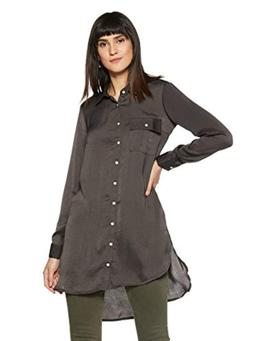 Polyester Long Sleeve Button Front Loose Fit Body Blouse Shirt by Rocky Star