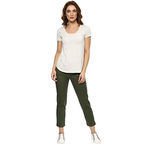 Khaki Calf-Length Straight Fit Pants by Ritu Kumar