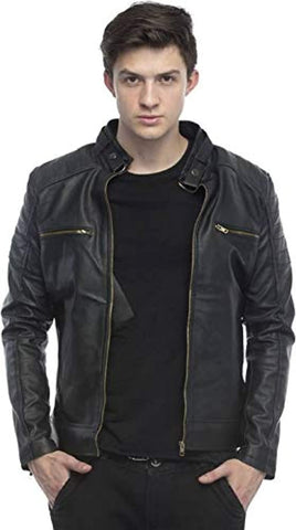 Black Designer Faux Leather Slim Fit Biker Jacket