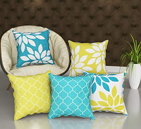 Leaf Printed Jute Cushion Cover (16 X 16-inches, Multicolour) - Set of 5