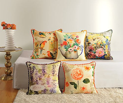 Assorted Canvas Cushion Cover Set of 5