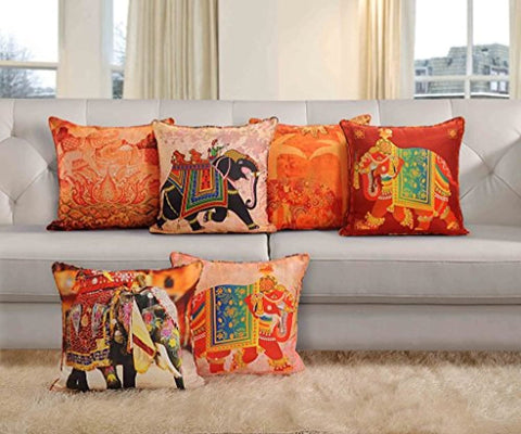 Cotton Ethnic Theme Cushion Cover Multicolour, 16x16-inch - Set of 5