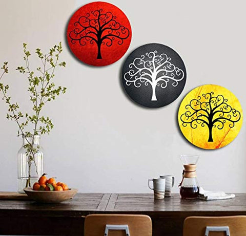 Wooden Wall Designer Tree Plates for Hanging (Set of 3)