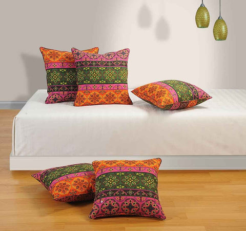 Printed Cotton 5 Piece Cushion Cover Set - Red Multi