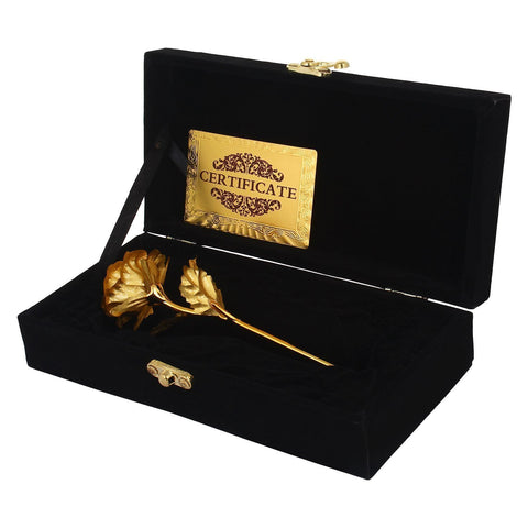 24K Gold Rose 25 Cm With Black Velvet Box