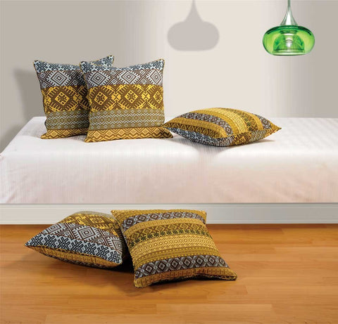 Cotton 5 Piece Cushion Cover Set - Yellow