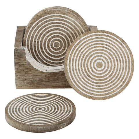 Round Wooden Coaster with Stand Rustic