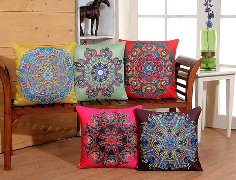 3D Printed Jute Cushion Covers Set of 5-16 x 16 inch (RED)