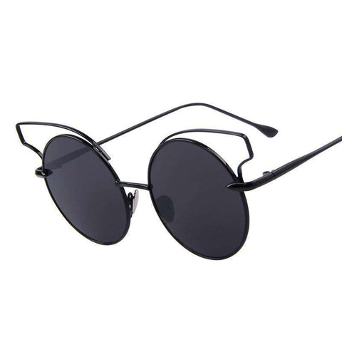 Cat Eye Round Alloy Frame Oculos UV400 Sunglasses