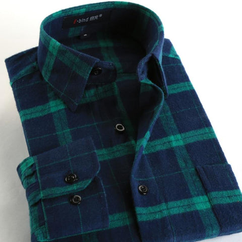 Casual Plaid Long Sleeve Slim Fit Flannel Shirt