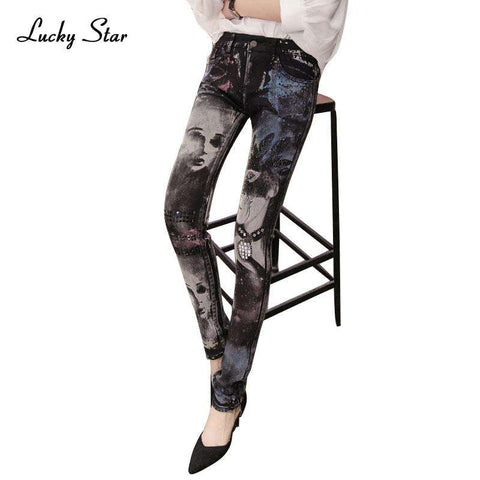 Pencil Printed Rhinestones Long Skinny Jeans - Wear.Style