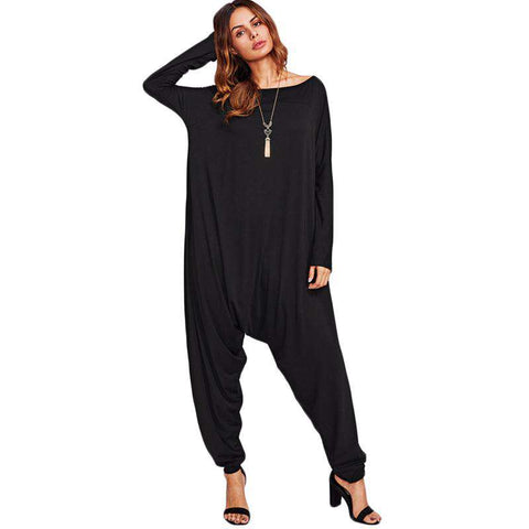 Drop Crotch Black Loose Boat Neck Long Sleeve Full Length Jumpsuit