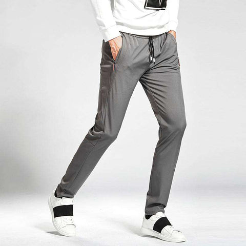 Stretch Slim Fit Elastic Waist Zipper Joggers Pants