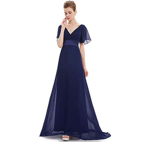Padded Trailing Flutter Sleeve Chiffon Long Dress Gown