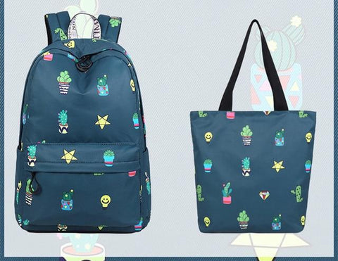 Cute Waterproof Fabric Cactus Potted Plants Pattern Printing Large Capacity Backpack