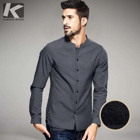 Long Sleeved Single Breasted Mandarin Collar Shirts