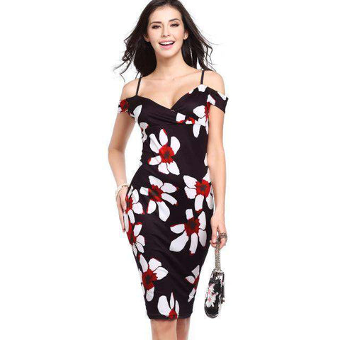 Floral Print Sexy Slash Neck Off Shoulder Spaghetti Strap Knee Length Pencil Dress