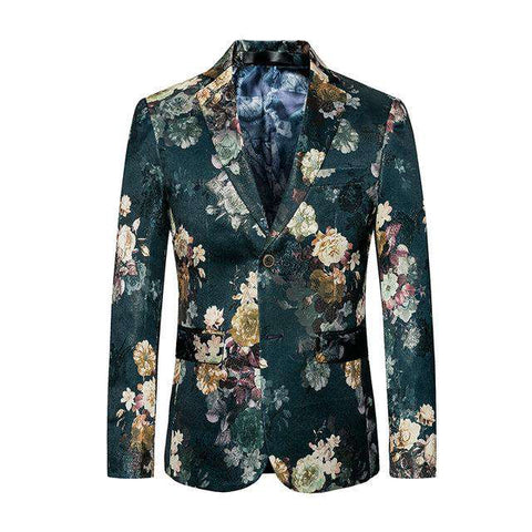 Single Breasted Slim Fit Floral Print Blazer