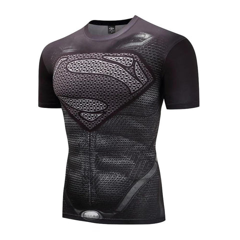 Tight Short Sleeve 3D Body Building Fitness Superman T-shirts
