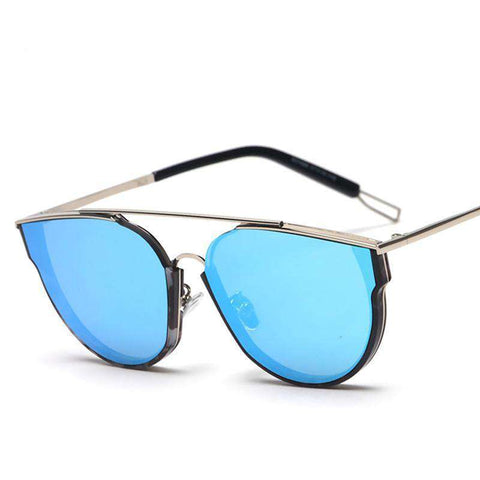 Cat Eye One-Piece Double Nose Bridge Alloy Frame Oversized Sunglasses UV400