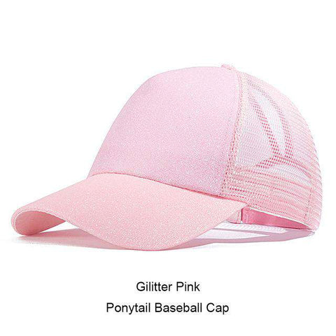 Ponytail Adjustable Snapback Sequins Shine Hip Hop Caps Glitter Mesh Baseball Cap Hats