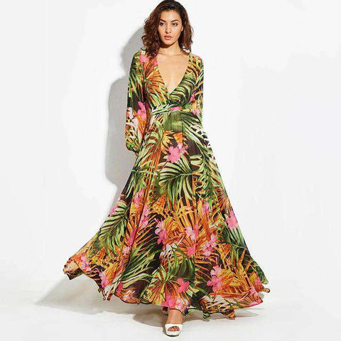 Long Sleeve Tropical Boho Print V Neck Belt Lace Up Tunic Draped Dress