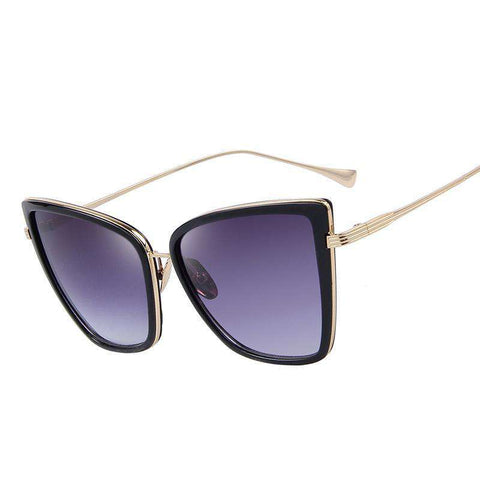 Cat Mirror Metal Cat Eye Designer High Quality Square Sunglasses