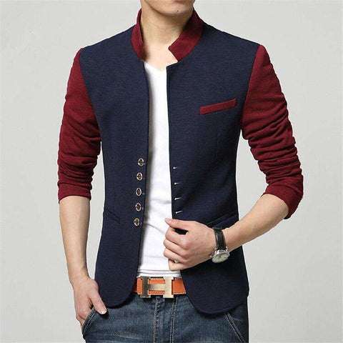 Single Breasted Chinese Collar Patchwork Blazer