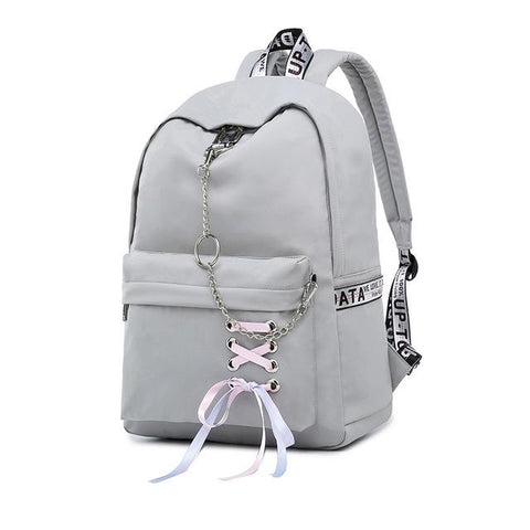 Waterproof Nylon Bow Chains Design Knapsack Backpack