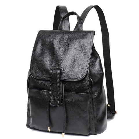 Genuine Leather Black Real Cow Leather Backpack