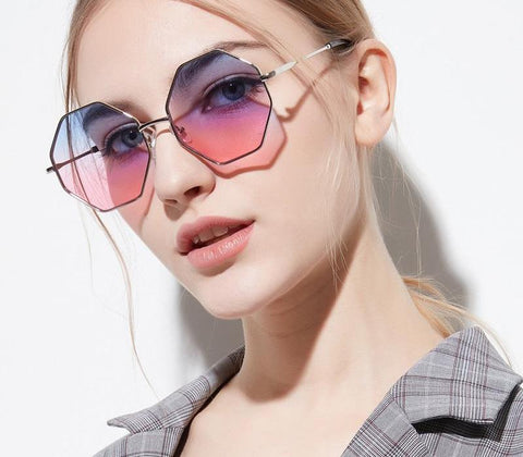 Trendy Hexagon UV400 Irregular Sunglasses