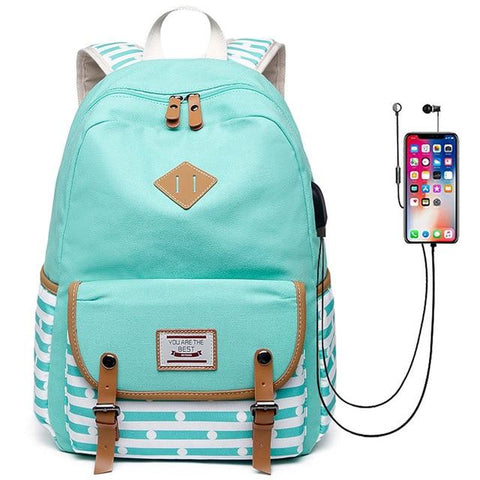 Striped Earphone Hole and USB Charging Port Backpack