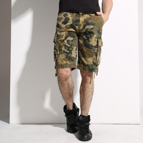 Camouflage Military Style Cotton Multi Pockets Bermuda Cargo Shorts