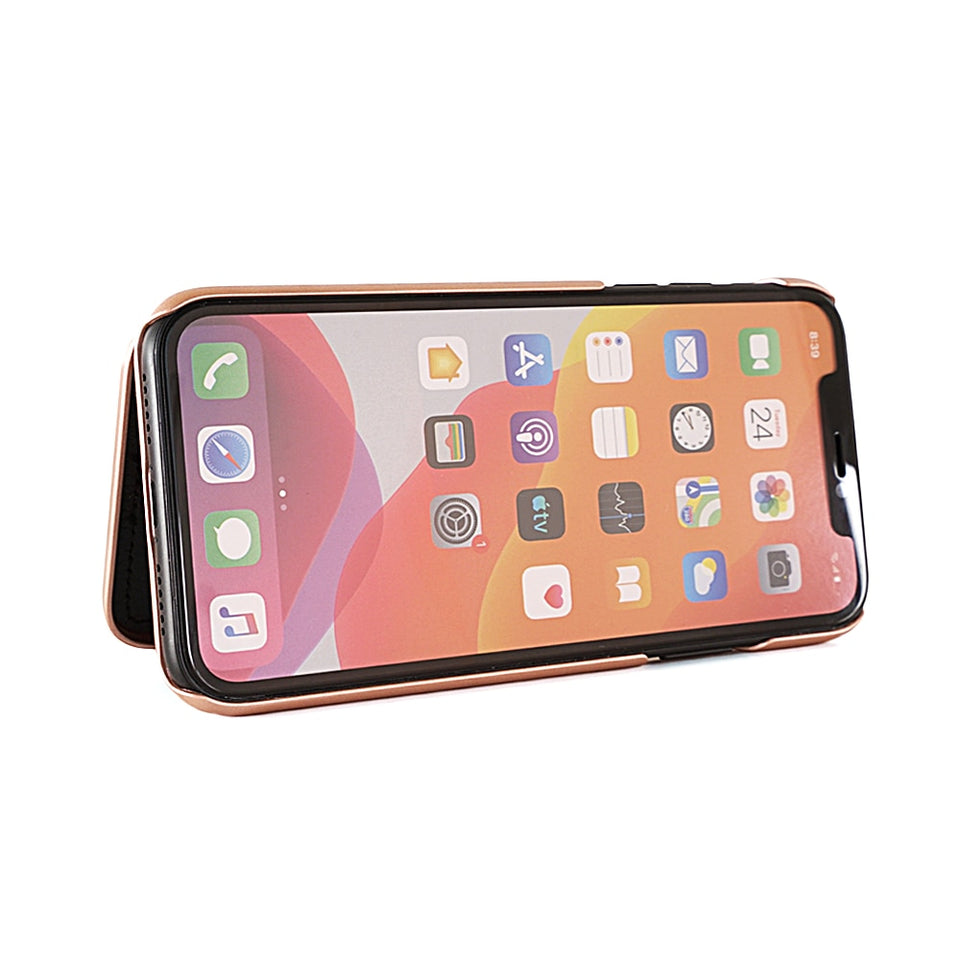 Luxury Italian Design iPhone Case with Hidden Mirror & Wallet