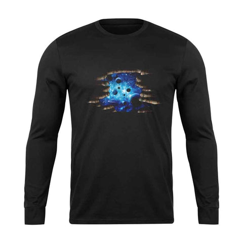 3d Cosmic Galaxy Planets Long Sleeve T-Shirt - Nuu Shirtz