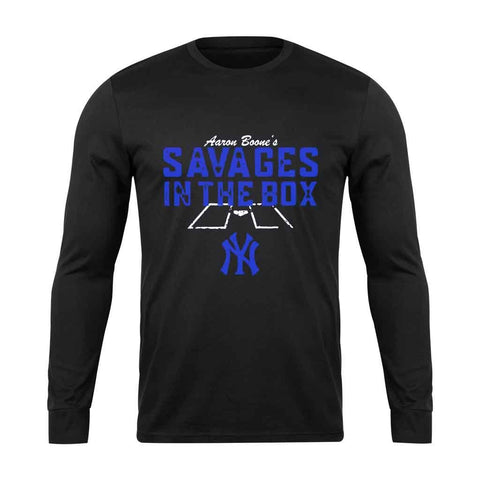 Aaron Boones Savages In The Box For Yankees Fan Long Sleeve T-Shirt - Nuu Shirtz