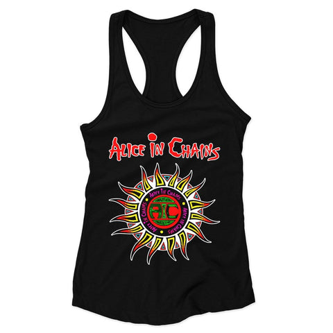 Alice In Chains Sun Logo Colored Woman's Racerback Tank Top - Nuu Shirtz