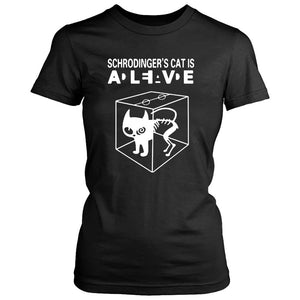 Cat Dead Alive Schrodinger's T Shirt Sheldon Geek Nerd Penny Big Bang Soft Kitty Women's T-Shirt - Nuu Shirtz