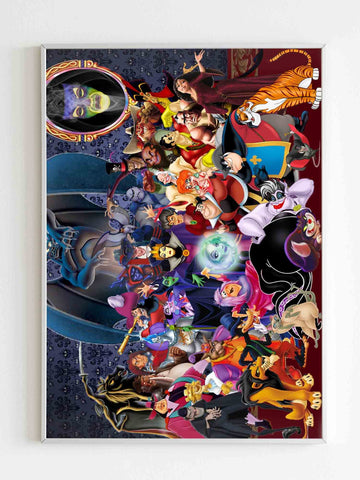 Disney All Villians Characters Poster