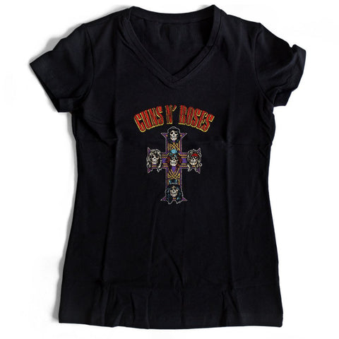 Guns N Roses Women's V-Neck Tee T-Shirt