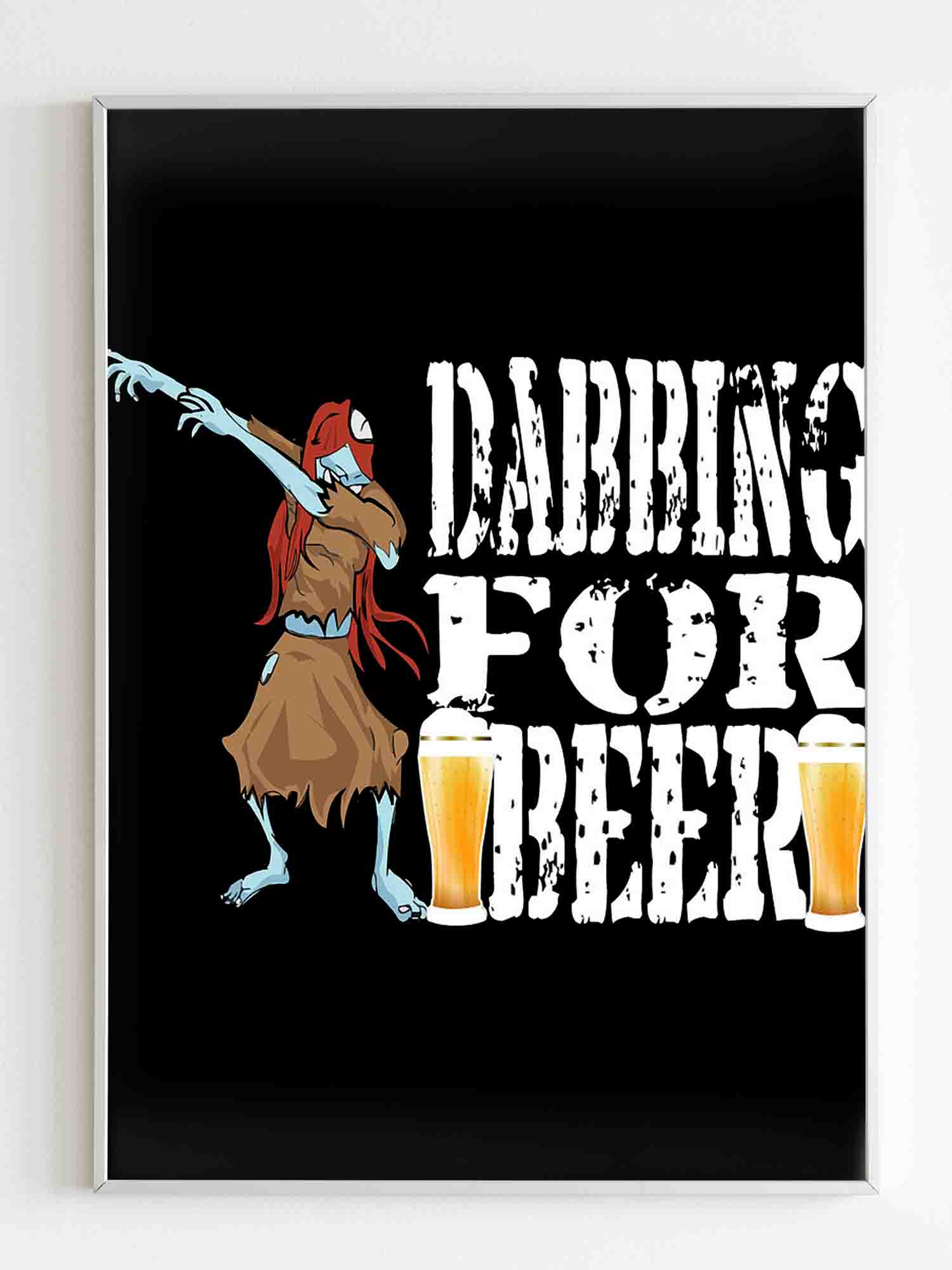 Halloween Dancing Zombie Dabbing For Beer Poster - Nuu Shirtz