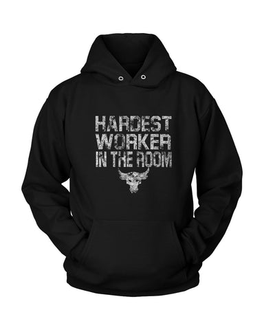 Hardest Worker In The Room Under Armour Iron The Rock Project Unisex Hoodie